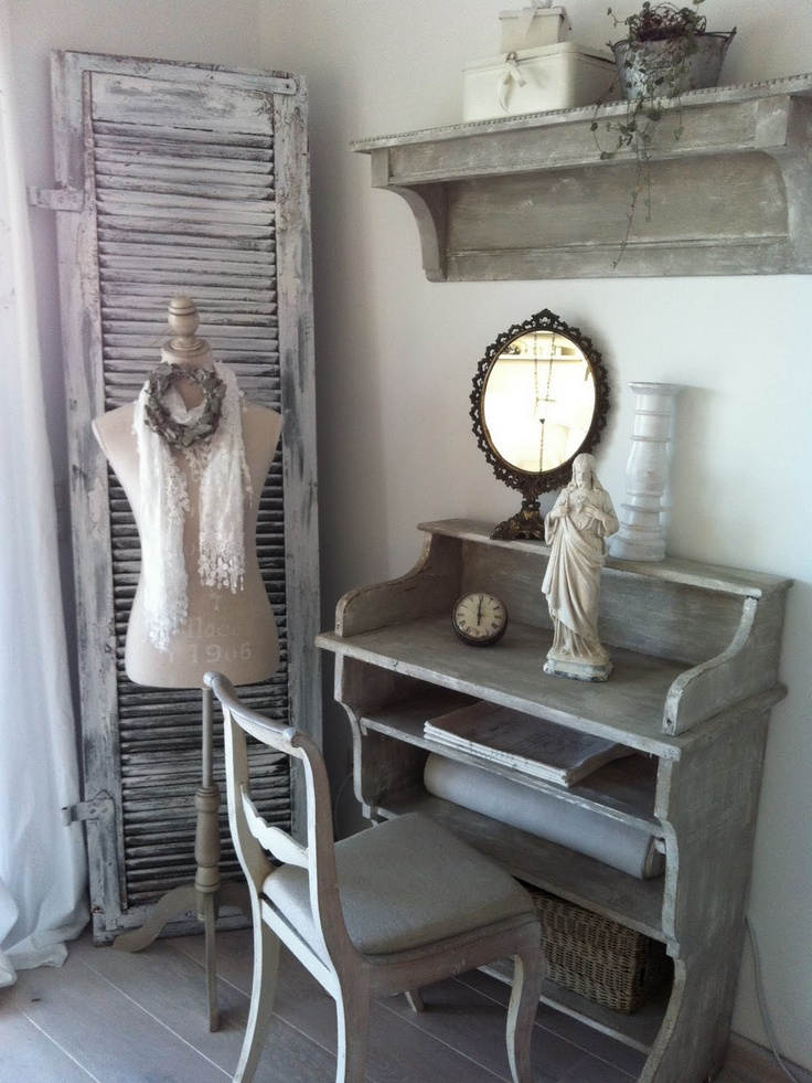 Doesn't she look lovely with those shutters behind her?: Cottage Shabby Chic, Cottage Ideas, Interior, Mannequinn Ideas, Shabby Rustic Cottage Style, Grey, Shabby Vintage, Bedroom Ideas