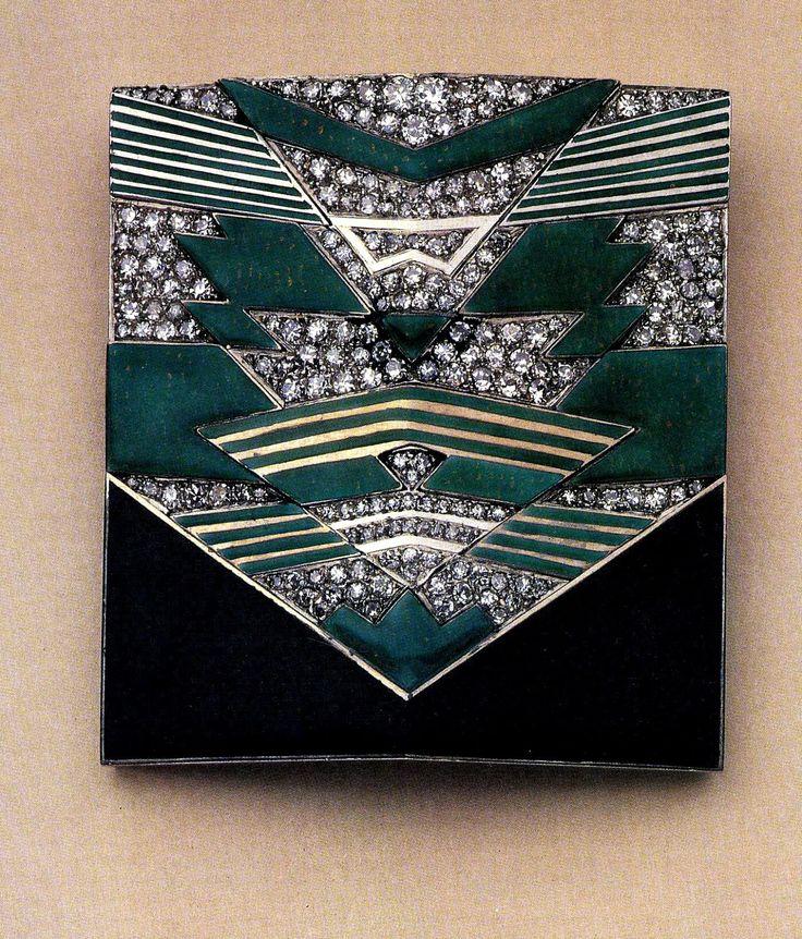 1925 exposition art déco - broche de R. Templier en diamants, laque noire verte et gris foncé