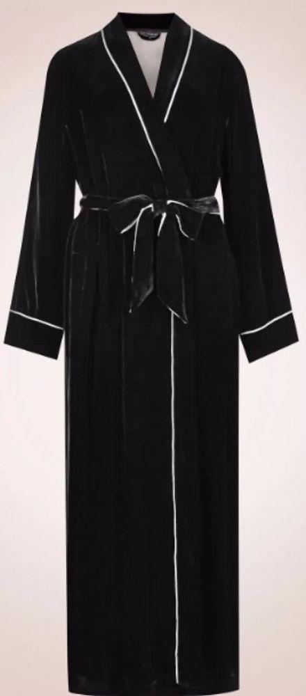 Rosie For Autograph Robe Dressing Gown Black Velour Cream Silk
