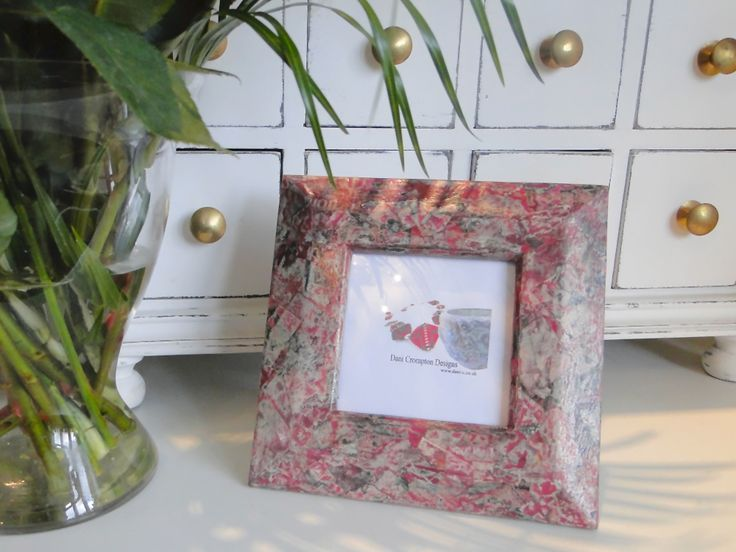 Small red square recycled picture frame upcycled with newspaper. 16cm x 16cm. Handmade one of a kind by Dani Crompton Designs