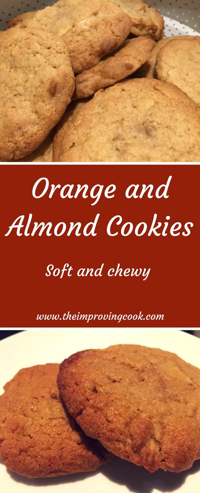 Orange and Almond Cookies- soft, chewy orange curd cookies with flaked almonds.