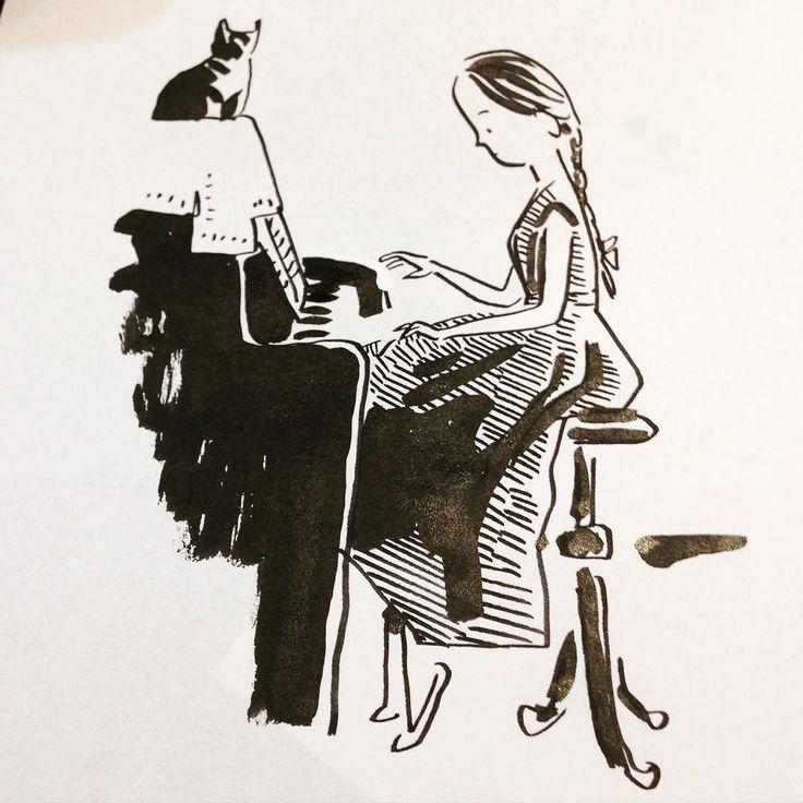 #piano #pianist #doodle #kerascoet #blackandwhite #ink by tchoukrik_kerascoet