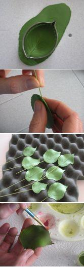 How to make gumpaste hydrangea leaves.