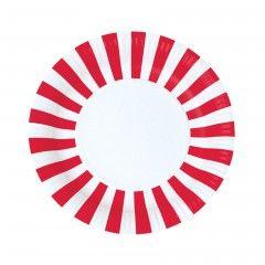Χάρτινα πιάτα στρογγυλά ριγέ κόκκινα Paper Eskimo - 12 τμχ.