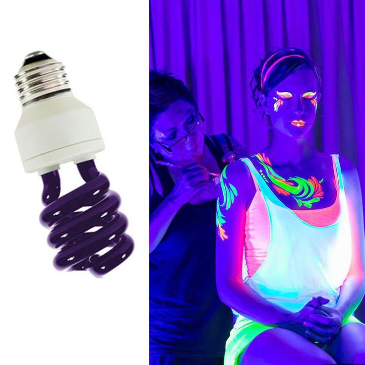 1X UV Light Bulb  Blacklight Screw Connector E27 GLow in the dark Disco