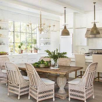 Reclaimed Wood Dining Table with Wicker Dining Chairs