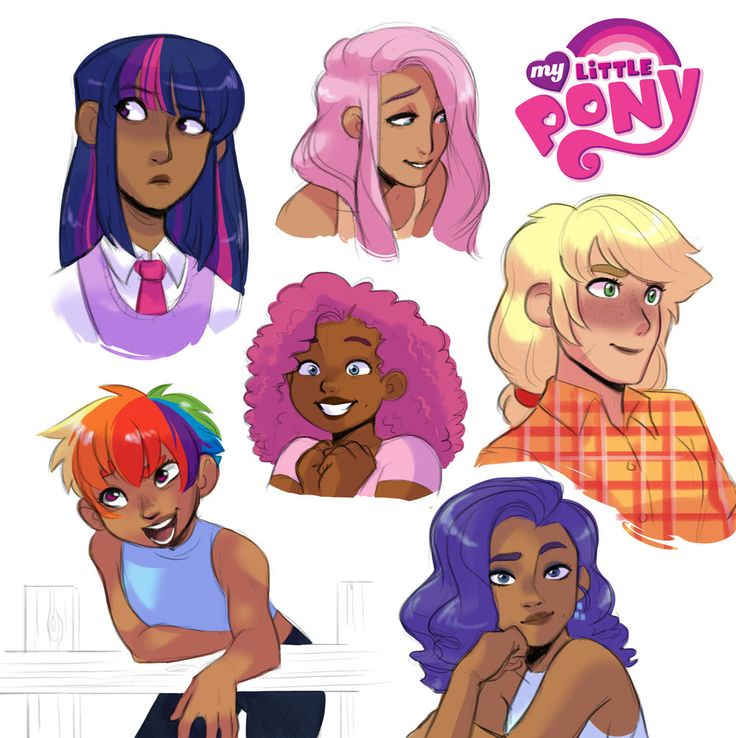 Human!Mane 6 Headshots by kilala97 on DeviantArt