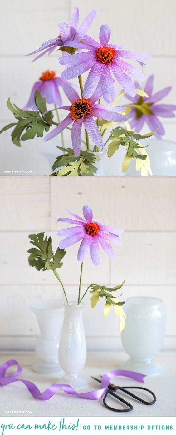 Learn how to make easy crepe paper echinacea flowers - Lia Griffith - www.liagriffith.com #paper #paperart #paperlove #paperflower #paperflowers #crepepaperflowers #crepepaper #crepepaperrevival #diyidea #diyideas #diyproject #diyinspiration #papercut #madewithlia