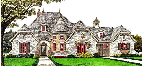 House Plan 66282 | Country European Plan with 2688 Sq. Ft., 4 Bedrooms, 5 Bathrooms, 3 Car Garage at family home plans