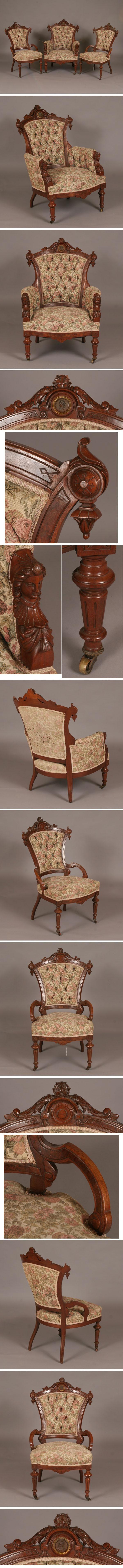 Jelliff Victorian Renaissance Revival Chairs 3pc   Antique Helper