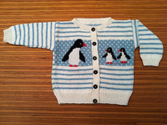 Size 12m Multicolour baby cardigan penguins by WillyWolly on Etsy, €25.00