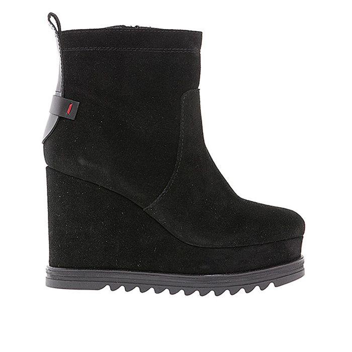 55505-BLACK SUEDE #mourtzi #wedges #booties www.mourtzi.com