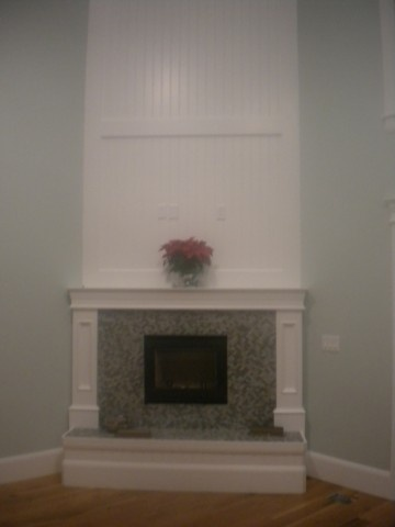 Beadboard Wall Above Fireplace Paint Mantle White