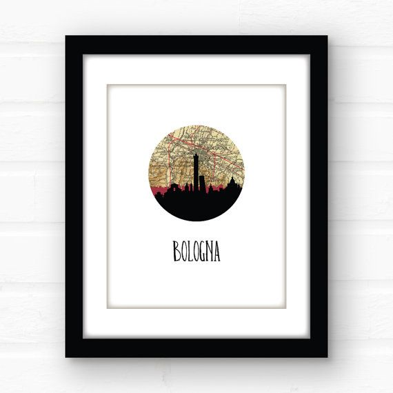 Bologna Italy map print  Italy print  Italy by PaperFinchDesign