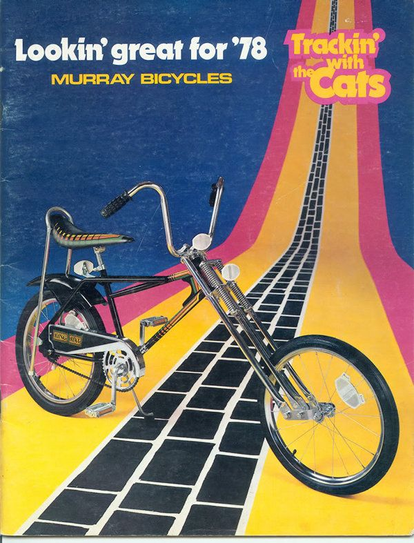 "1978 Murray Fire Cat. 20"" custom chopper-style with extended chrome front fork and coaster brake. Flamboyant"