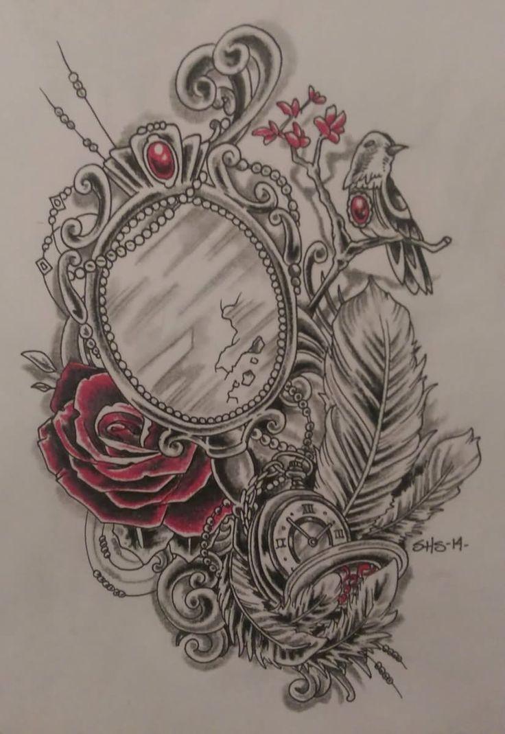 Pin 25 overwhelming rib tattoos for guys creativefan on pinterest - 25 Victorian Hand Mirror Tattoo