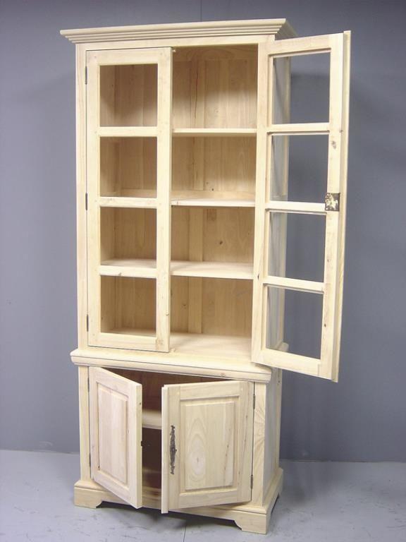 Bibliotheque Vitree 4 Portes Hevea 90x45x205cm Tradition Meubles De Rangement Buffet Haut Mobilier De Salon