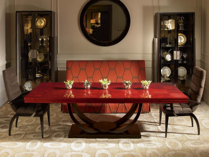Our garnet finish on omni dining table