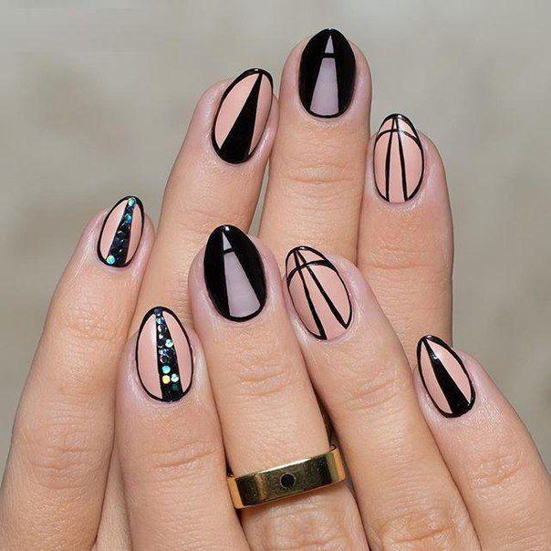 Black Nails, Nail Art And Nude Nails