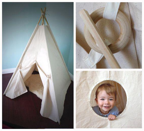Grande tente tipi, pas de poteaux, tipi toile, tente de jeu naturel, wigwam, enfants tente tipi, playhouse, nurserie, cadeau de shower de bébé