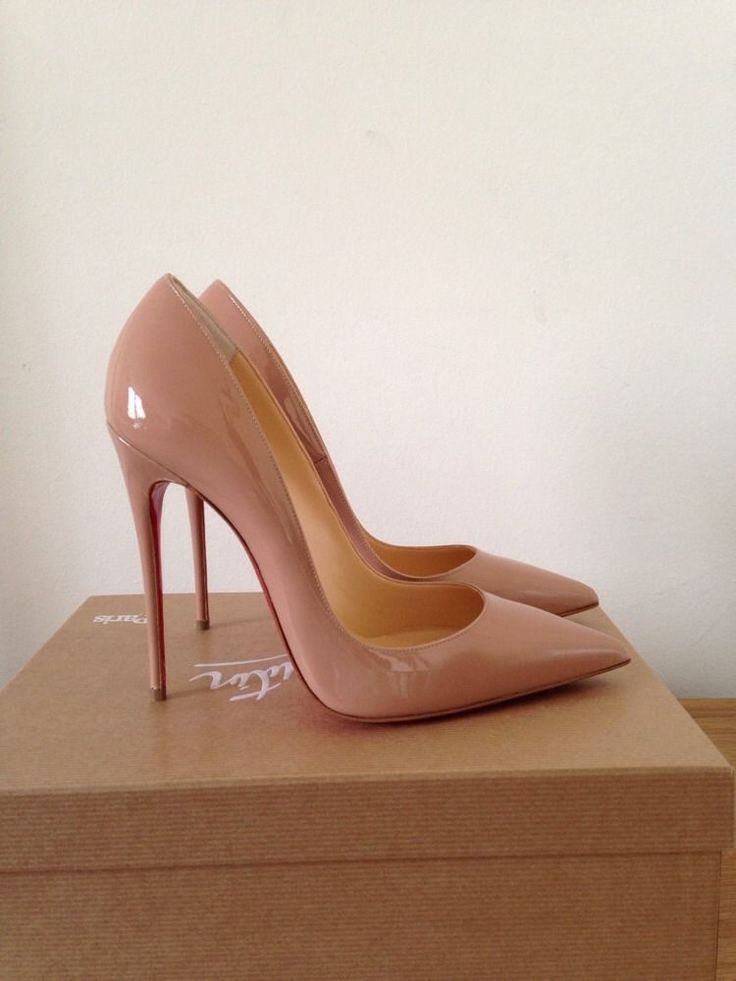Christian louboutin so kate nude patent shoes heels pumps it 38 uk ...
