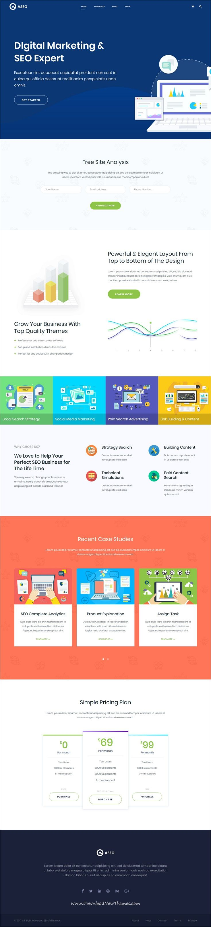Aseo is clean and modern design 7in1 responsive multipurpose Bootstrap #HTML5 #template for #digital marketing, SEO, #software and startup #agency website to live preview & download click on image or Visit 👆
