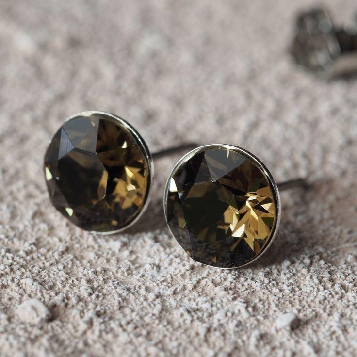 NEU Titan OHRSTECKER 8mm SWAROVSKI STEINE smoky quartz/braun OHRRINGE-£9,99-magoshop1