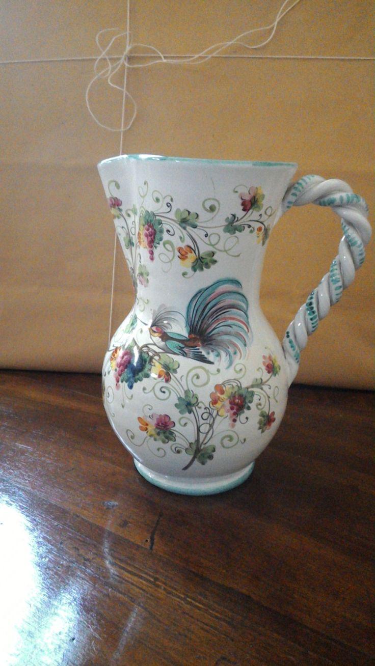 Brocca caraffa-per vino -per acqua-brocca caraffa vintage-colibrì-arredamento cucina-dipinto a mano -ceramica dipinta di lovelymore su Etsy
