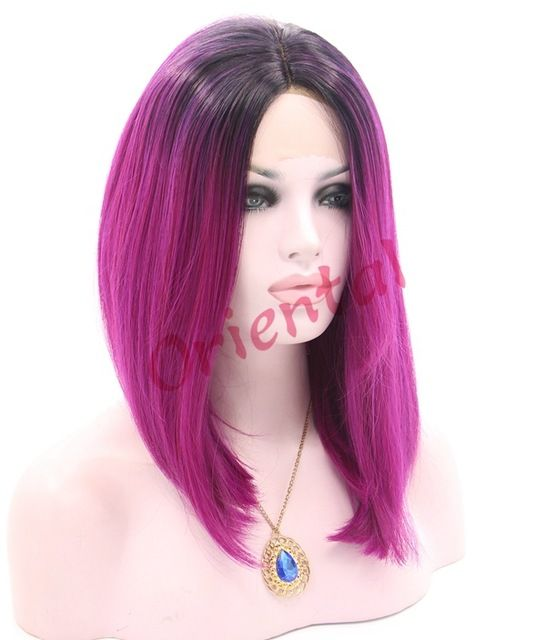 Oriental heat resistant short black to purple ombre straight glueless BOB synthetic lace front wig for black women