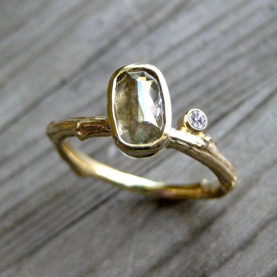 Rose Cut Green Diamond Twig Ring with Diamond Bud by kristincoffin, $1590.00
