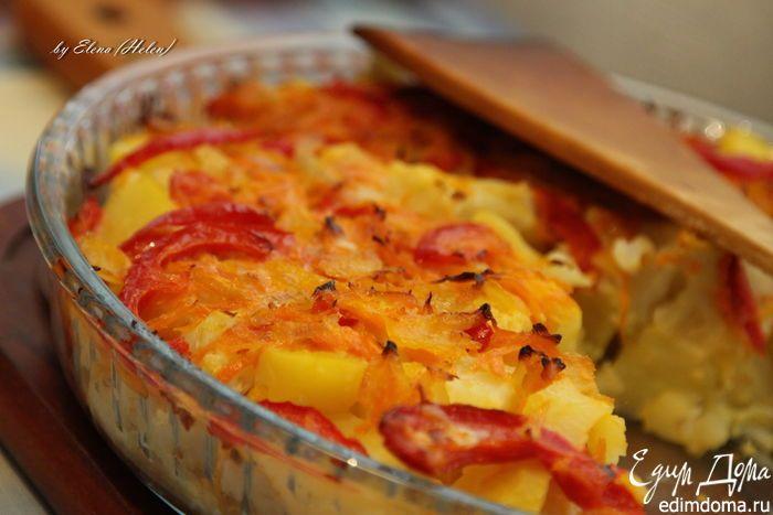 Овощная запеканка из цветной капусты и картофеля. Очень простая и вкусная овощная запеканка на ужин. Добавить красок можно стручковой фасолью и брокколи. #edimdoma #recipe #cookery