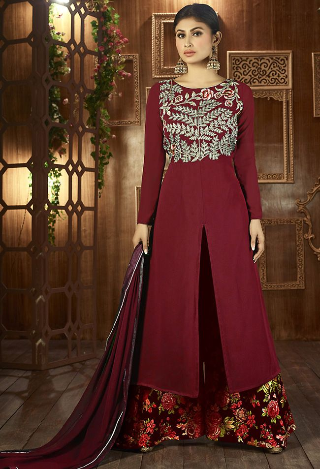 Magnetic #Maroon #Palazzo Suit @ http://www.indiandesignershop.com/product/magnetic-maroon-palazzo-suit/