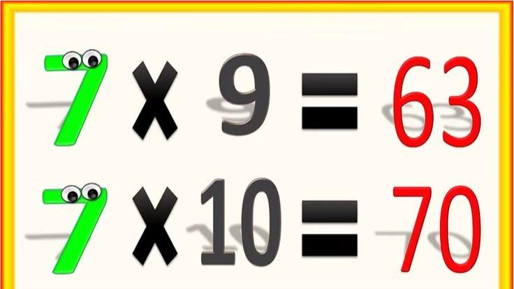 Tabla de Multiplicar del 7 para Niños, Multiplication Chart of Number 7