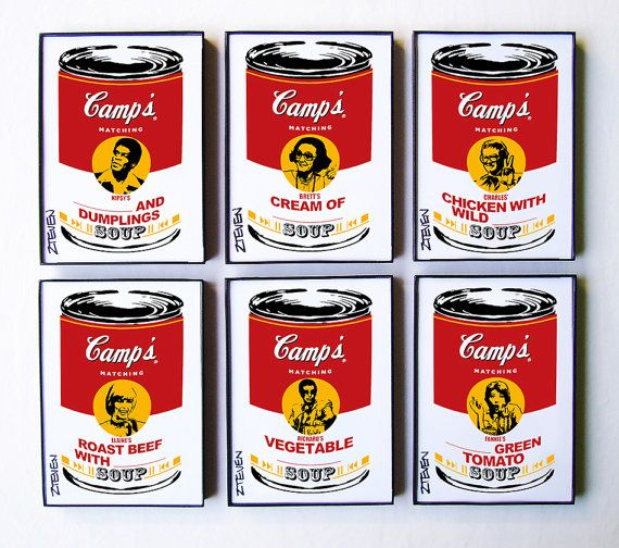 Match Game 1970s FULL CELEBRITY PANEL POP ART SOUP CANS framed artwork set of 6 by ZTEVEN  • 5x7 original pop art graphics, framed set of 6, each signed as shown  • Set contains 6 celebrity panelists from the notorious 70s Game Show: Nipsy Russell, Brett Somers, Charles Nelson Reilly, Elaine Joyce, Richard Dawson and Fannie Flagg. • Soup flavors include:  1 Nipsys ___________ and Dumplings Soup  2 Bretts Cream of _____________ Soup  3 Charles Chicken with Wild __________ Soup  4 Elaines…