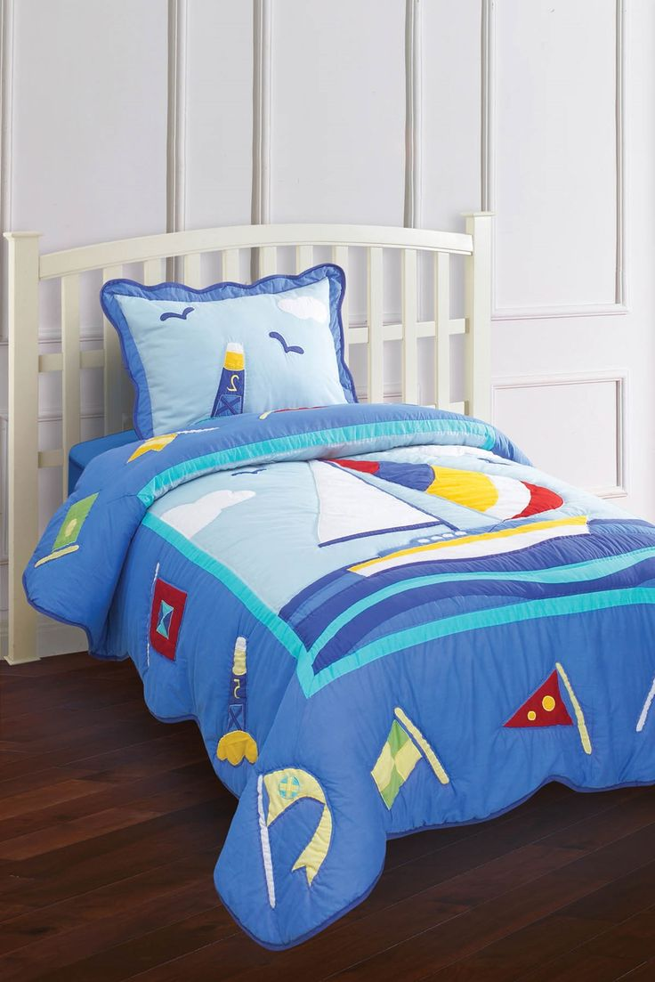 For a nautical or Cape Cod look - Hallmart Kids Nantucket Sailboat Quilt & Sham Set. $109-$139