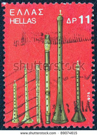 "A stamp printed in Greece from the '""traditional musical instruments"" issue shows various wind instruments, circa 1975."