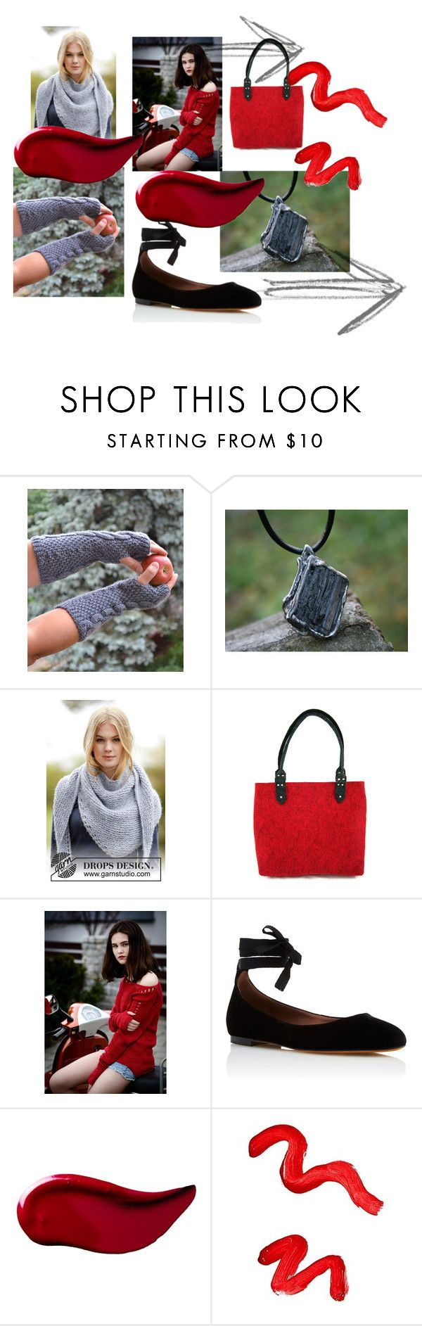 """Red & gray"" by isabellwoolstudio ❤ liked on Polyvore featuring Tabitha Simmons, Kat Von D and Topshop"