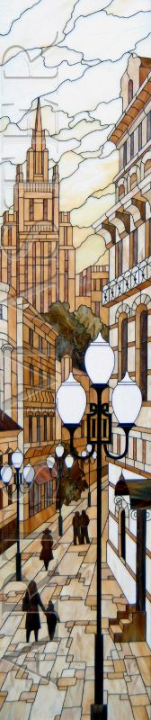 """'Stained Glass """"Arbat"""" is designed for installation in a niche in the interior of a Moscow apartment'."""