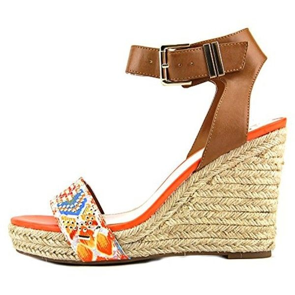Bar Iii Bar Iii Women's Athena Espadrille Wedge Sandals | Bluefly.Com (1230 TWD) ❤ liked on Polyvore featuring shoes, sandals, orange, espadrille wedge sandals, wedge espadrilles, lace up espadrilles, lace up espadrille sandals and orange sandals