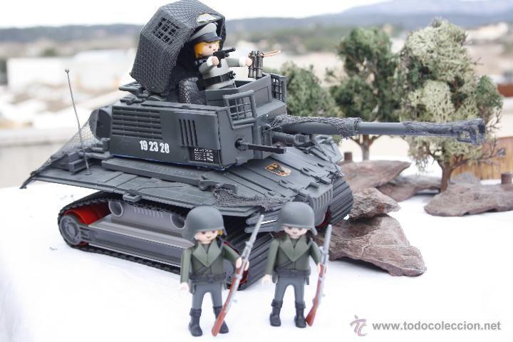 Increíble PLAYMOBIL CUSTOM - TANQUE con 2 soldados y Oficial de ejercito Alemán IIWW 100% PlayMobil