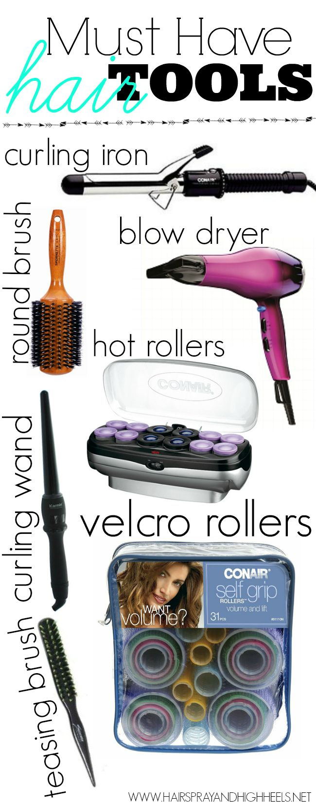 Must Have Hair Tools...have everything except the Velcro rollers...they do not work on my hair at all!