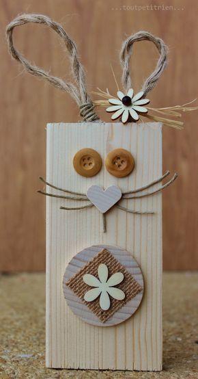 Lapin nature avec une chute de bois, www.pinterest.com/fleurysylvie et www.toutpetitrien.ch #bricolage #paques #enfants