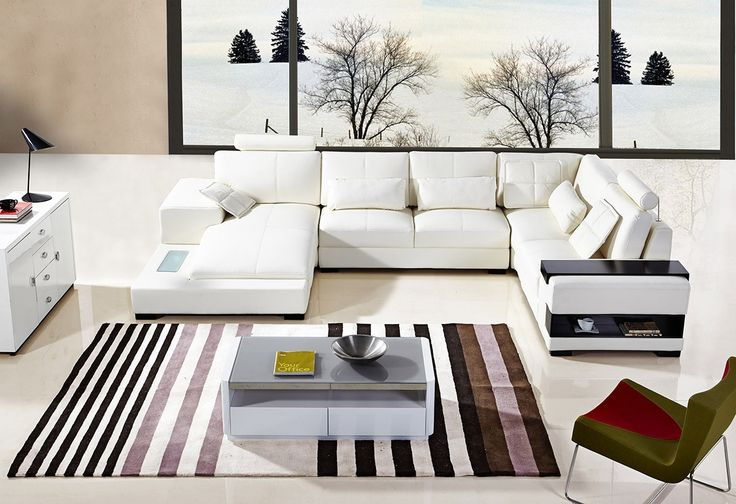 Log shaped headrests White Leather Sectional Sofa With End Table