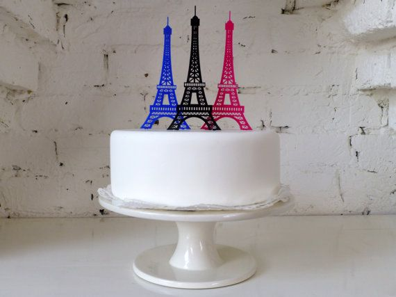 Eiffel Tower Cake Topper by MissSarahCake on Etsy