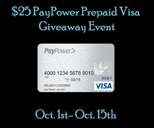 Enter to win a $25 Prepaid Visa!  (Ends 10/15)