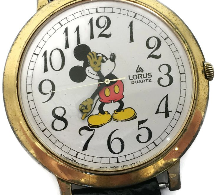 New to Revendeur on Etsy: Mickey Mouse Watch -- Lorus Quartz Disney Mickey Mouse Men's Watch -- Black Band -- Base Metal Bezel -- Stainless Steel Back -- CA0400 (55.00 USD)