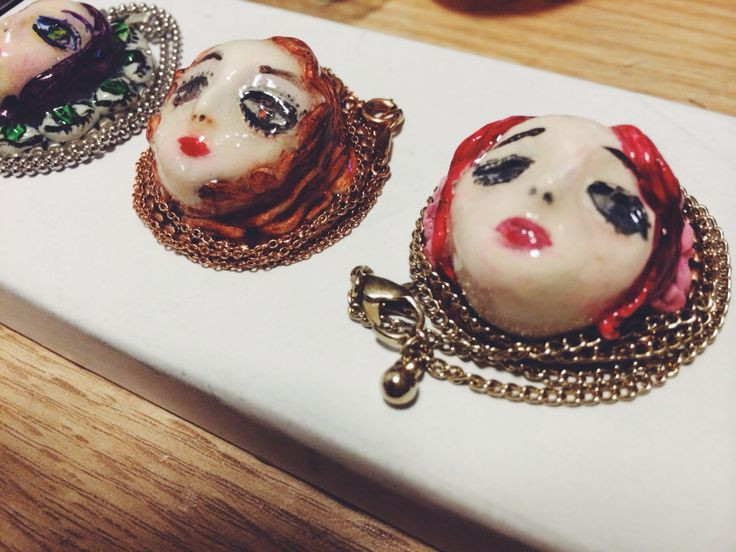 Faces , hand paint, necklace, jewellery, clay