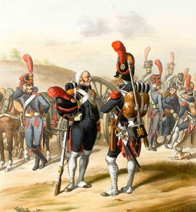 Francja - artyleria piesza i pociągi artylerii Gwardii Cesarskiej. France - foot artillery and artillery train's of the Imperial Guard.