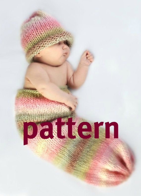 Knitting Photography Props : Newborn cocoon knitting pattern and hat baby photography