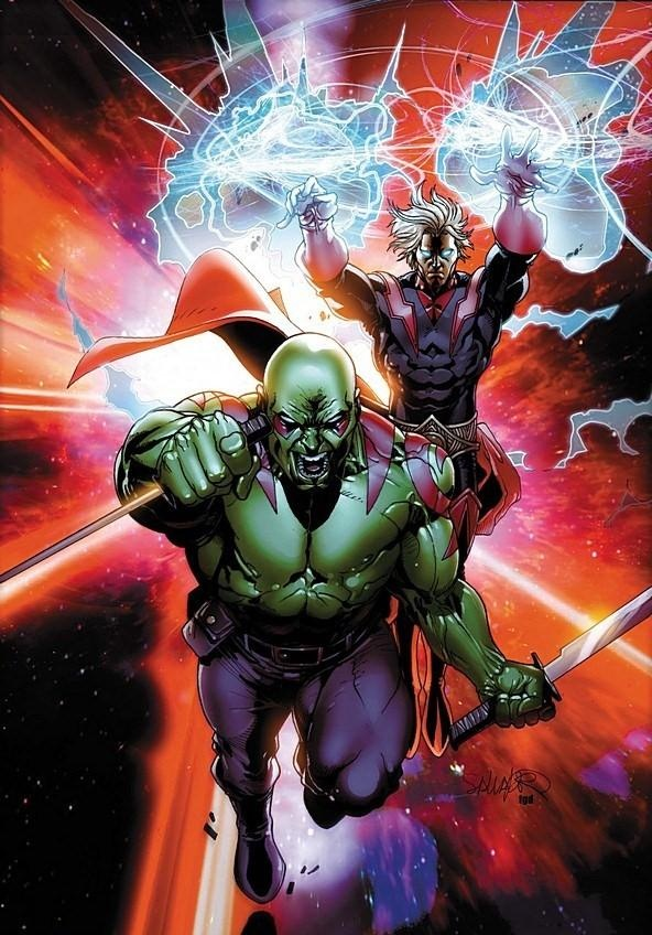 Drax The Destroyer and Adam Warlock by Pasqual Ferry. Drax the destroyer is my favorite space character. Adam is also amazing.